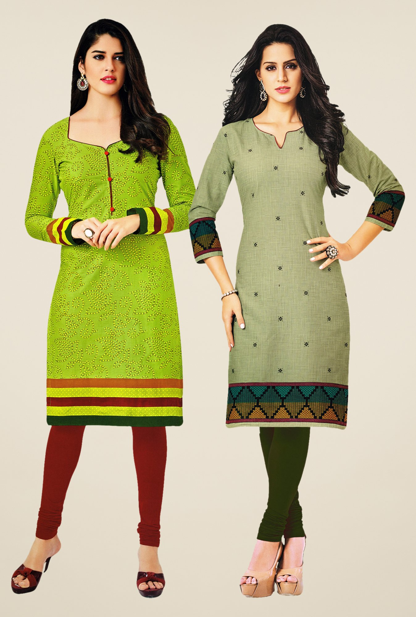 Salwar Studio Green & Green Kurtis (Pack Of 2)