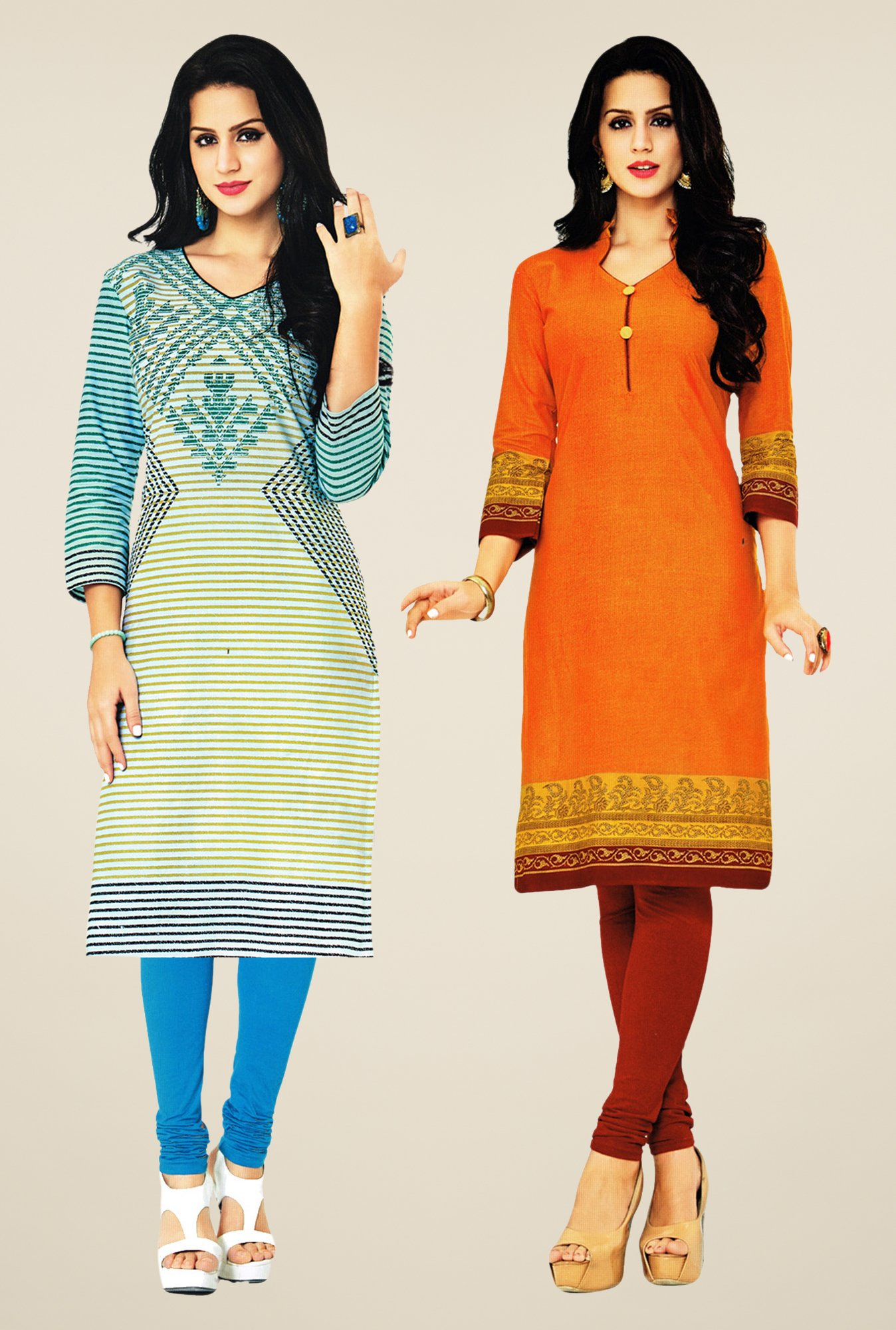 Salwar Studio Cream & Orange Kurtis (Pack Of 2)