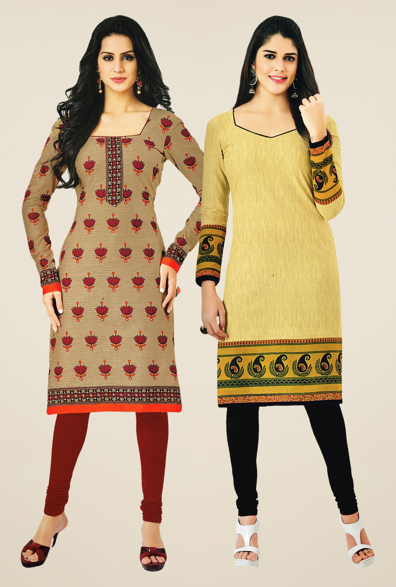 Salwar Studio Beige & Yellow Kurtis (Pack Of 2)