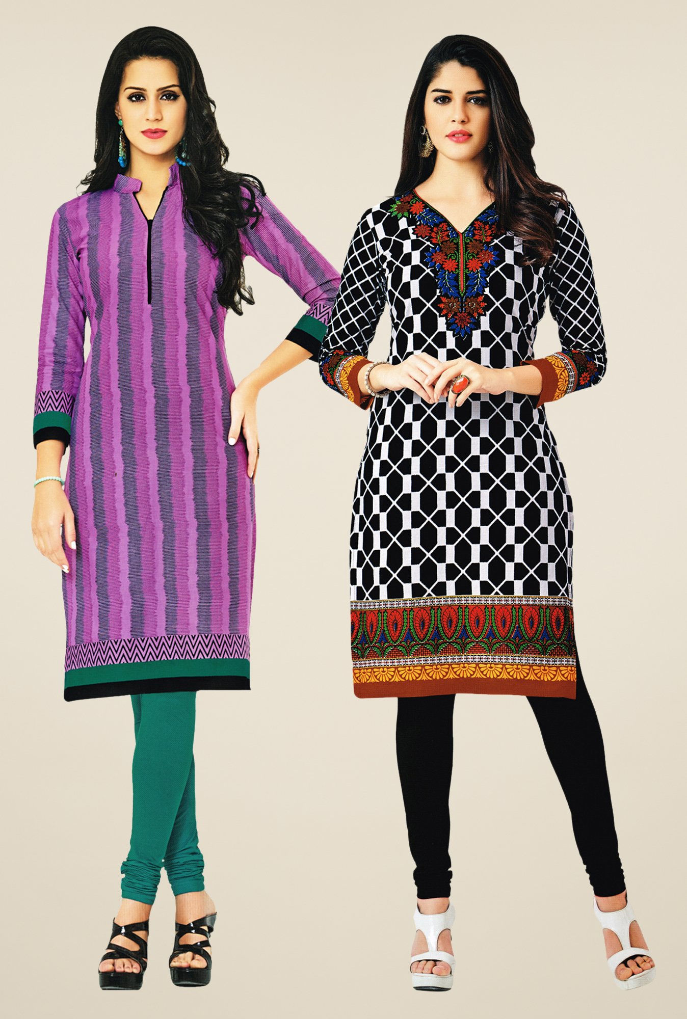 Salwar Studio Pink & Black Kurtis (Pack Of 2)