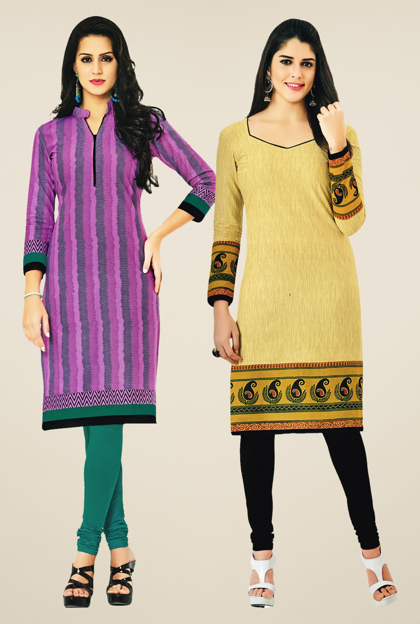 Salwar Studio Pink & Yellow Kurtis (Pack Of 2)