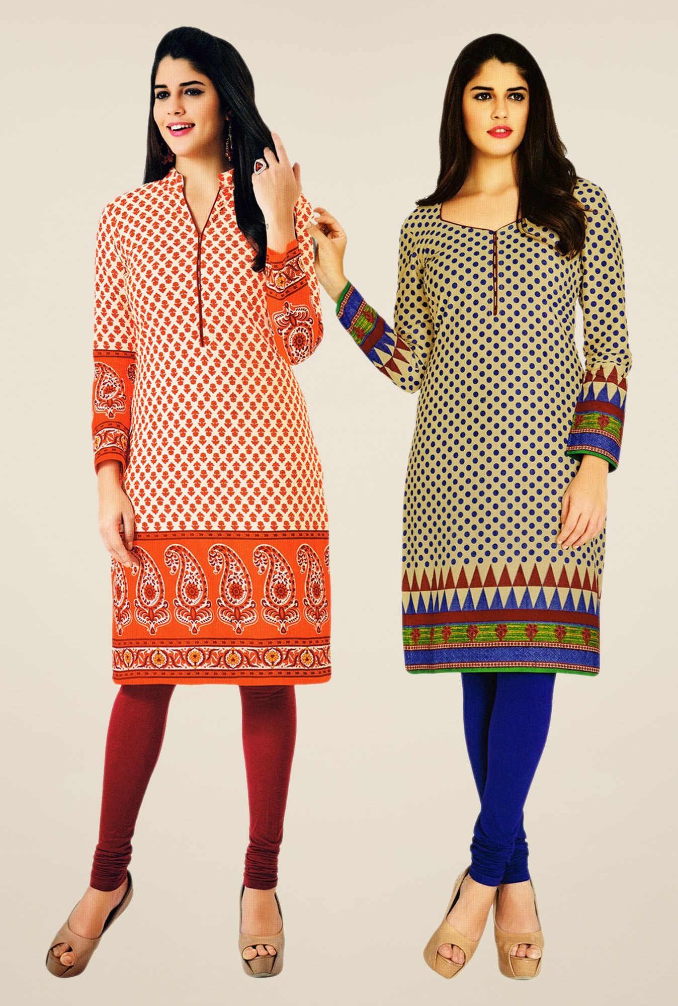 Salwar Studio Orange & Beige Kurtis (Pack Of 2)