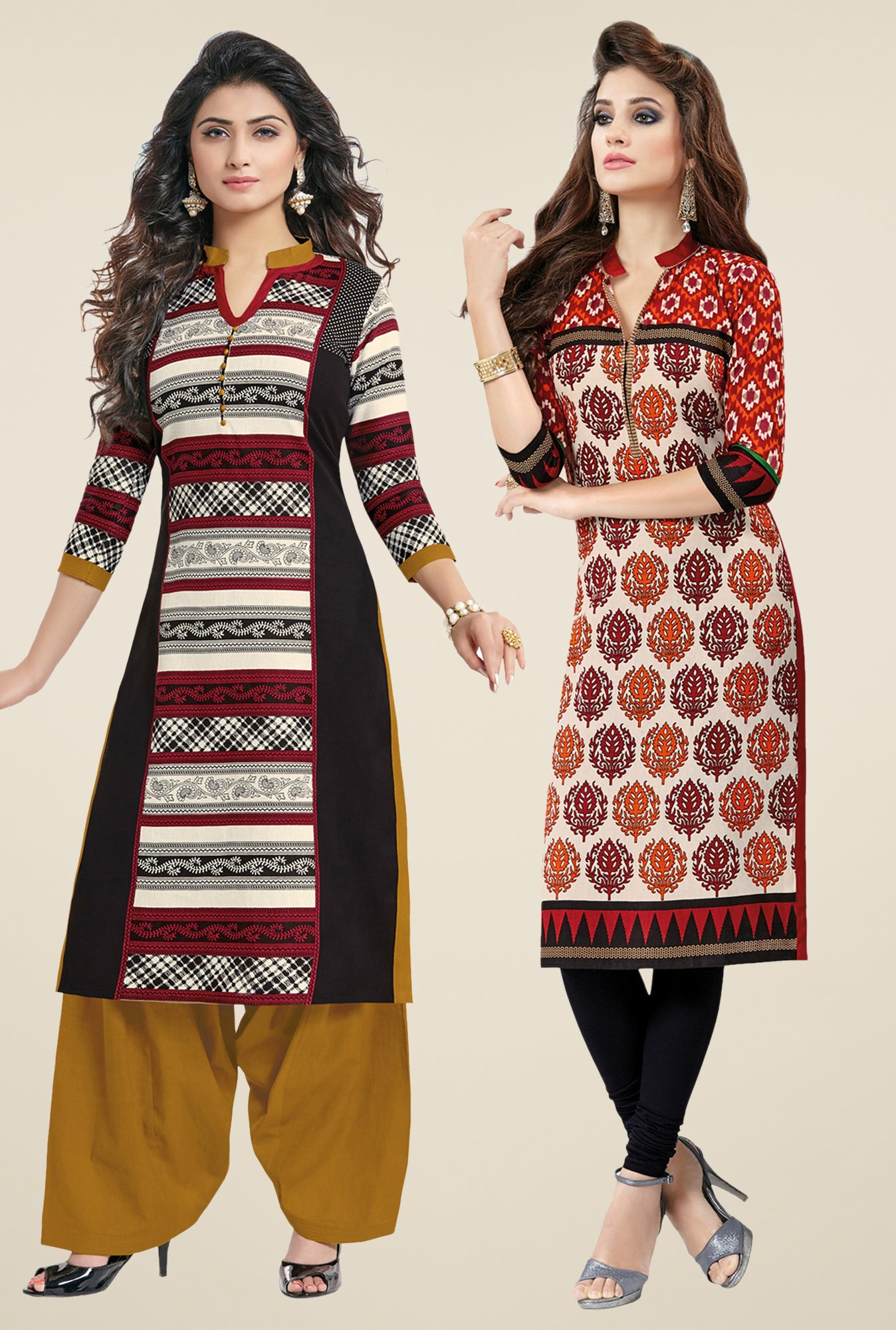 Salwar Studio Black & Red Kurtis (Pack Of 2)