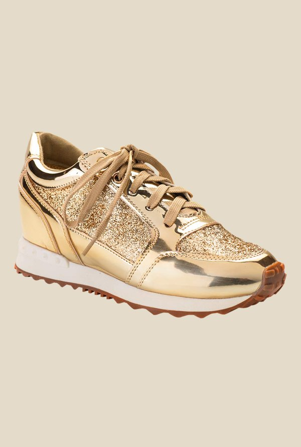 Tresmode Toshine Gold & White Sneakers