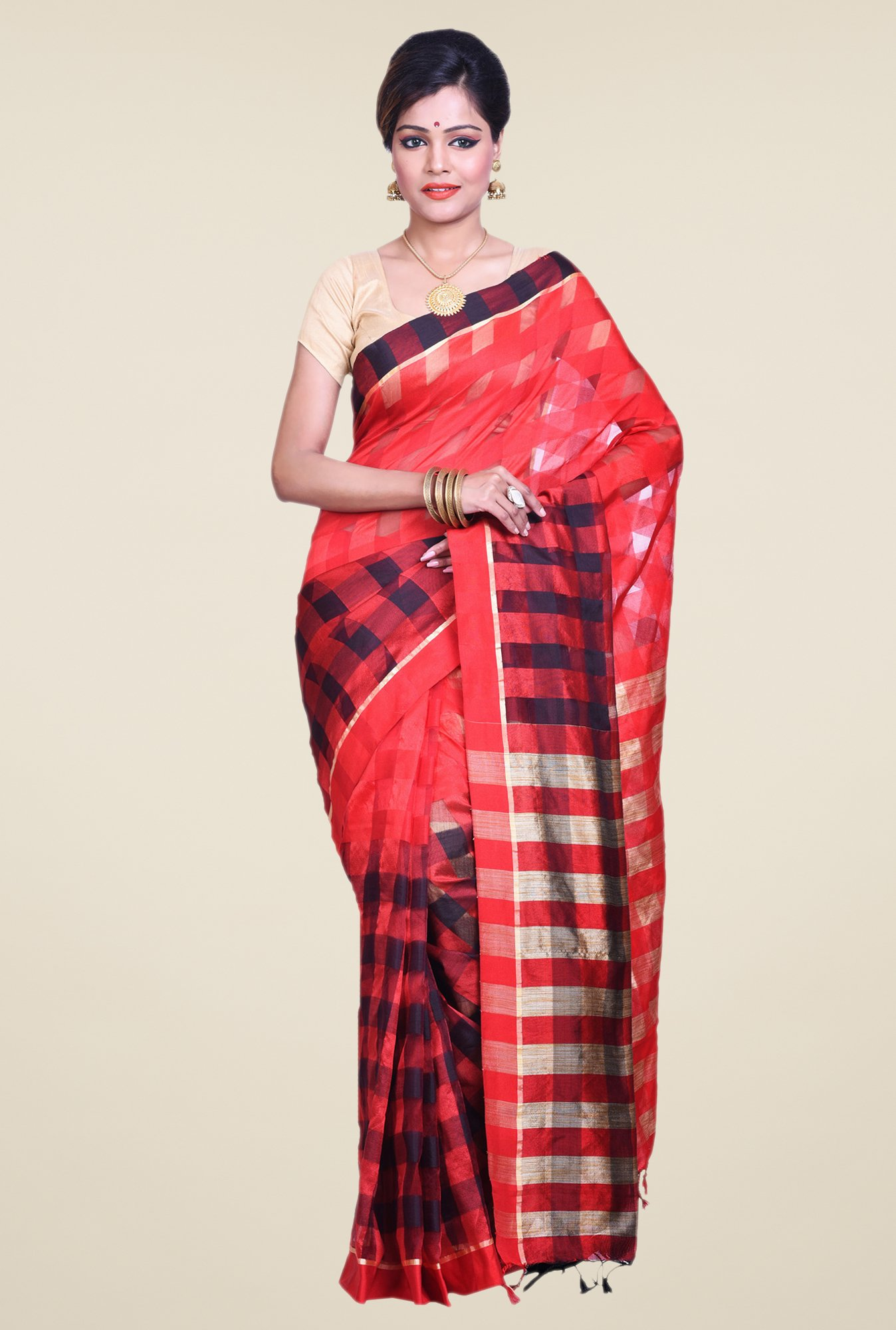 Bengal Handloom Coral Cotton Silk Saree