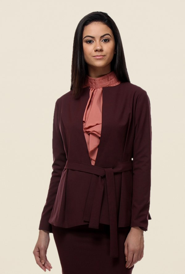 Kaaryah Wine Belted Solid Jacket
