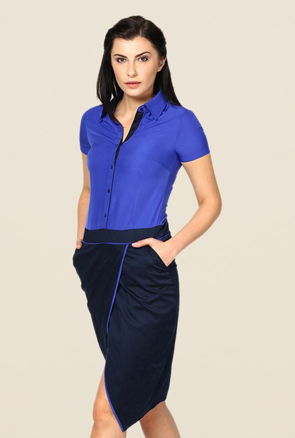 Kaaryah Blue Solid Relaxed Fit Shirt