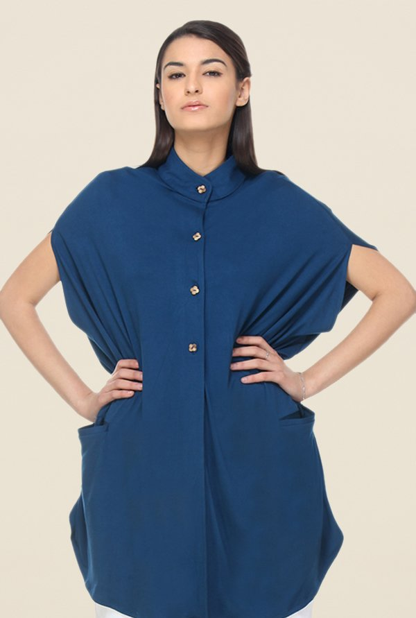 Kaaryah Blue Solid Short Sleeve Jacket