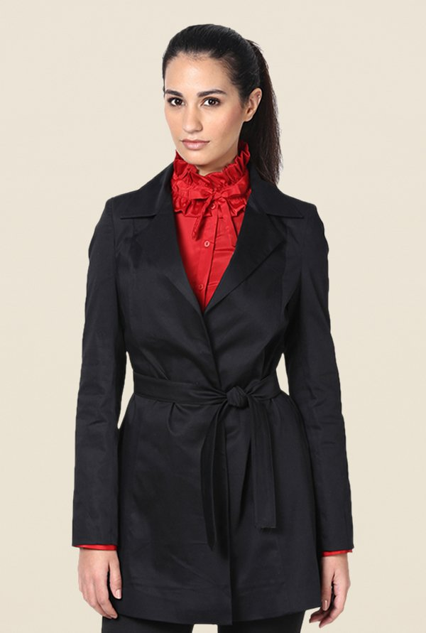 Kaaryah Black Belted Solid Jacket