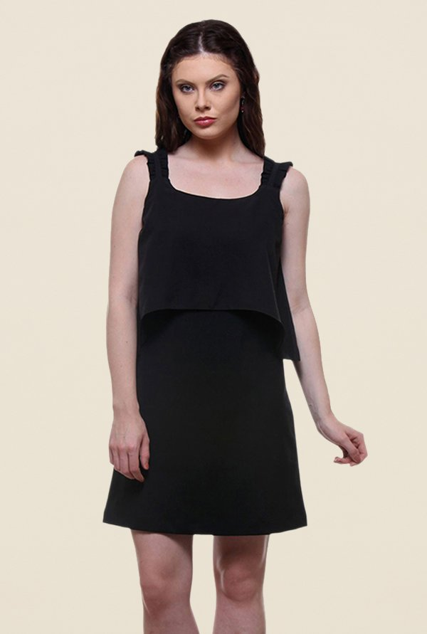Kaaryah Black Solid Square Neck Relaxed Fit Dress