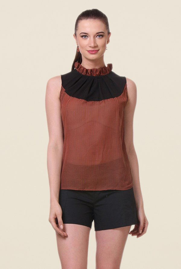 Kaaryah Orange Striped Top