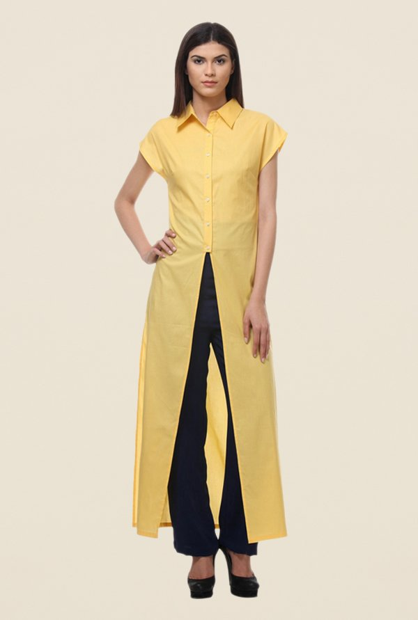 Kaaryah Yellow Solid Maxi Top