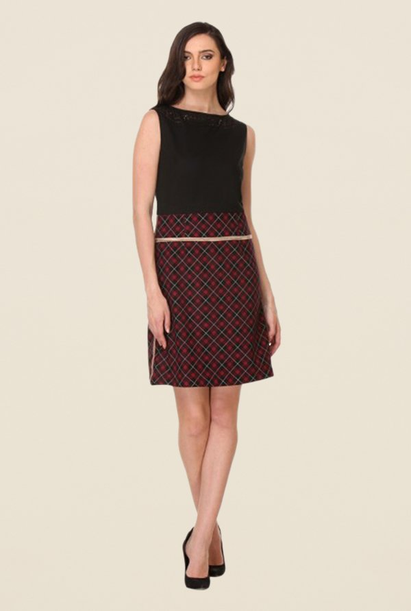Kaaryah Black & Burgundy Checks Dress