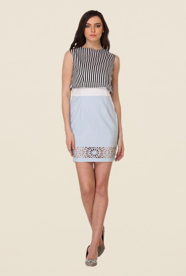 Kaaryah White & Light Blue Printed Dress