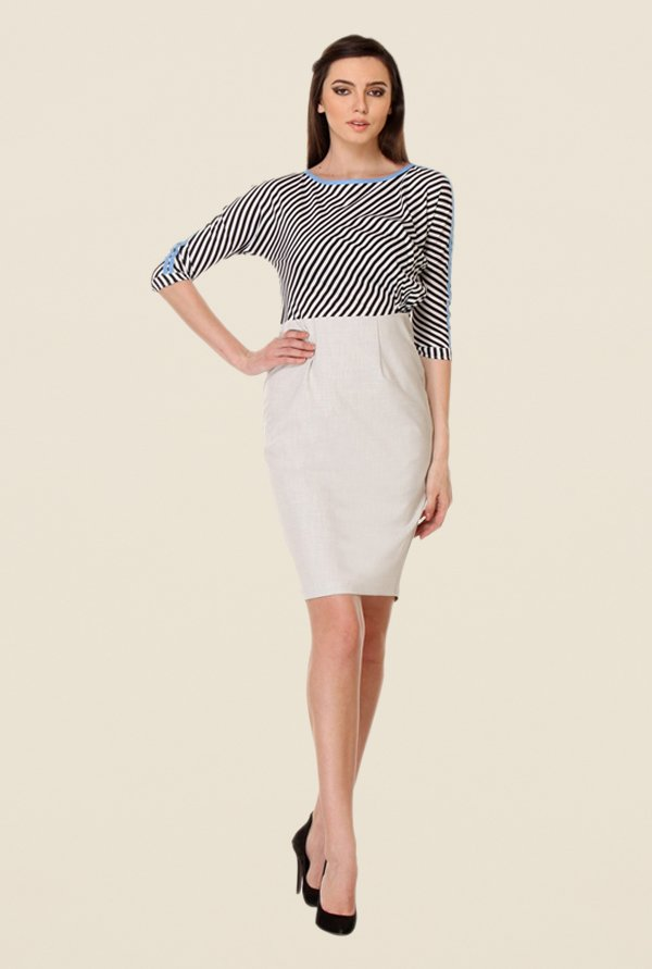 Kaaryah Beige Striped Dress