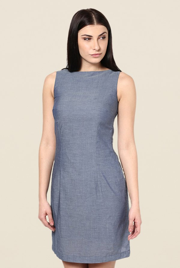 Kaaryah Blue Textured Relaxed Fit Dress