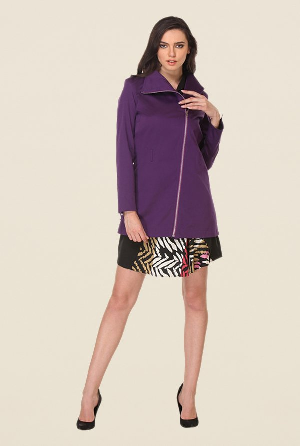Kaaryah Purple Solid Full Sleeves Jacket