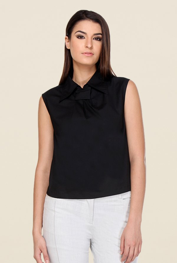 Kaaryah Black Solid Top