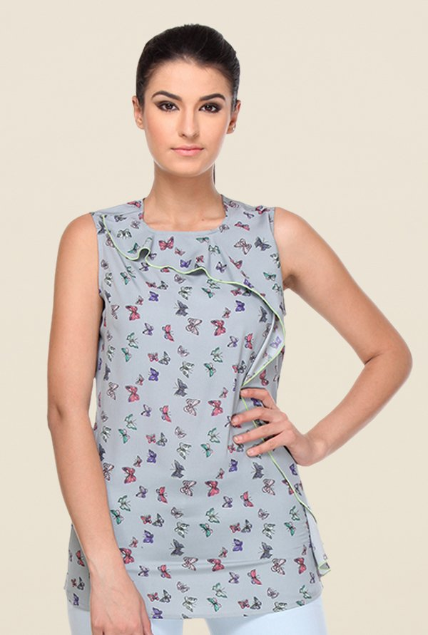 Kaaryah Grey Printed Top