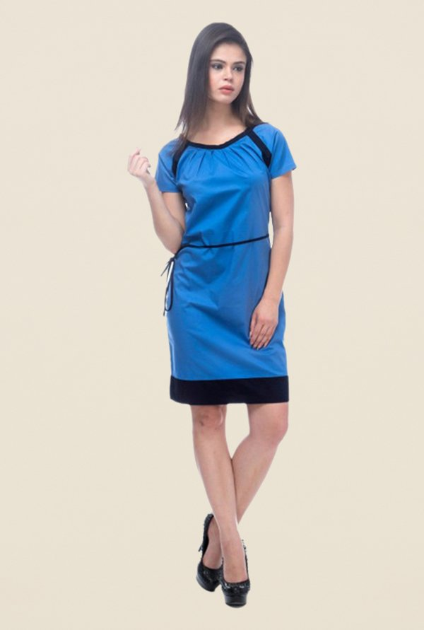 Kaaryah Blue Solid Square Neck Dress