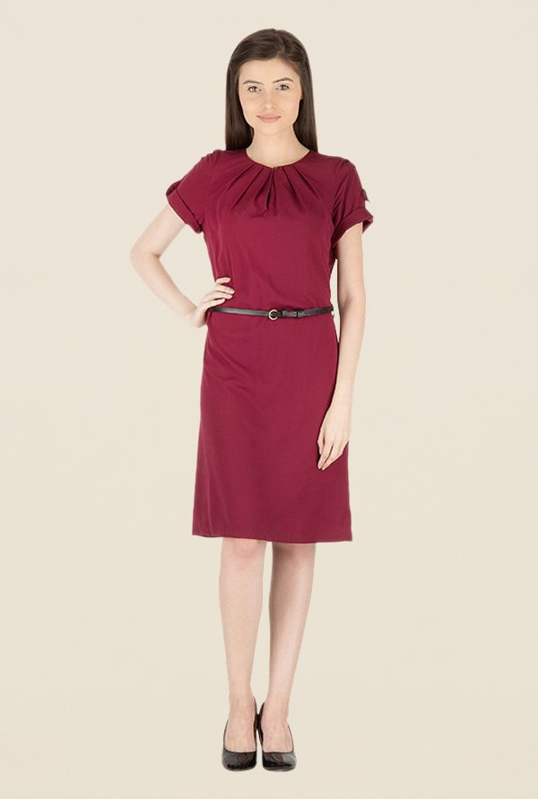 Kaaryah Wine Solid Round Neck Dress