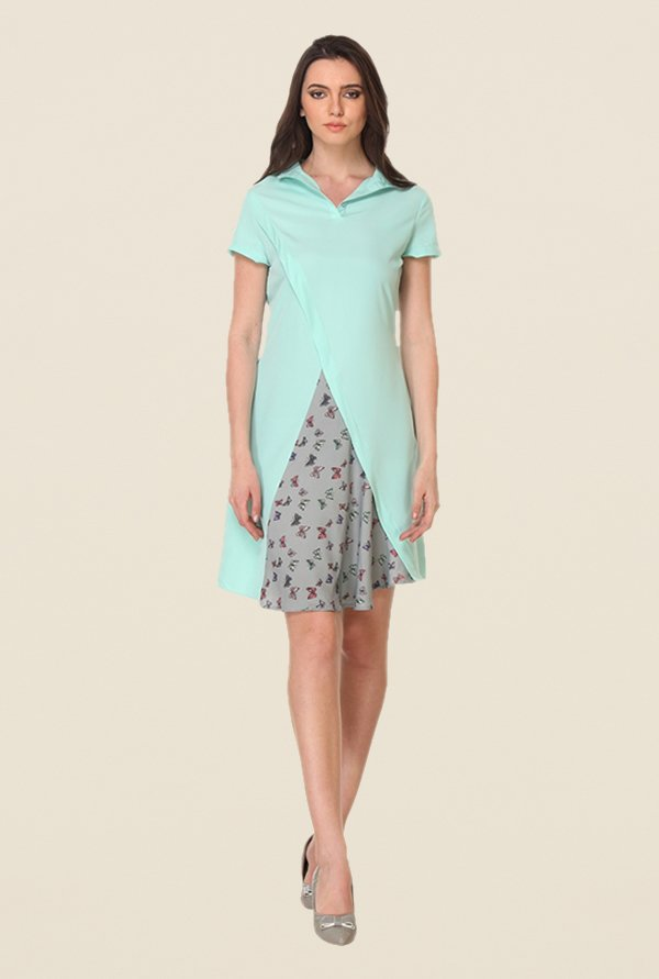 Kaaryah Mint Printed Dress