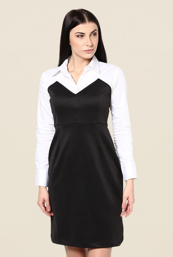 Kaaryah Black & White Solid Relaxed Fit Dress