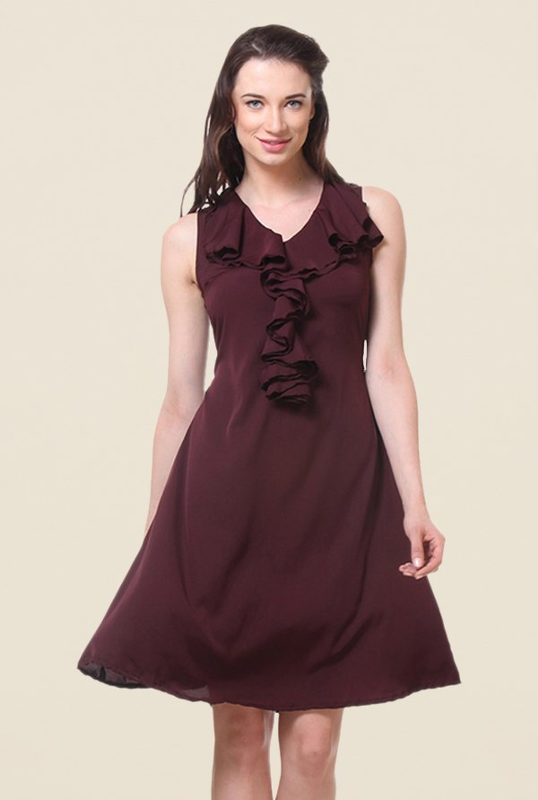 Kaaryah Wine Solid Cowl Neck Dress