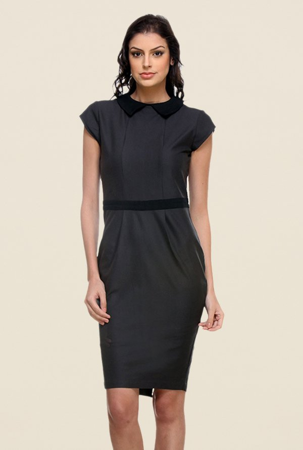 Kaaryah Grey Solid Relaxed Fit Dress