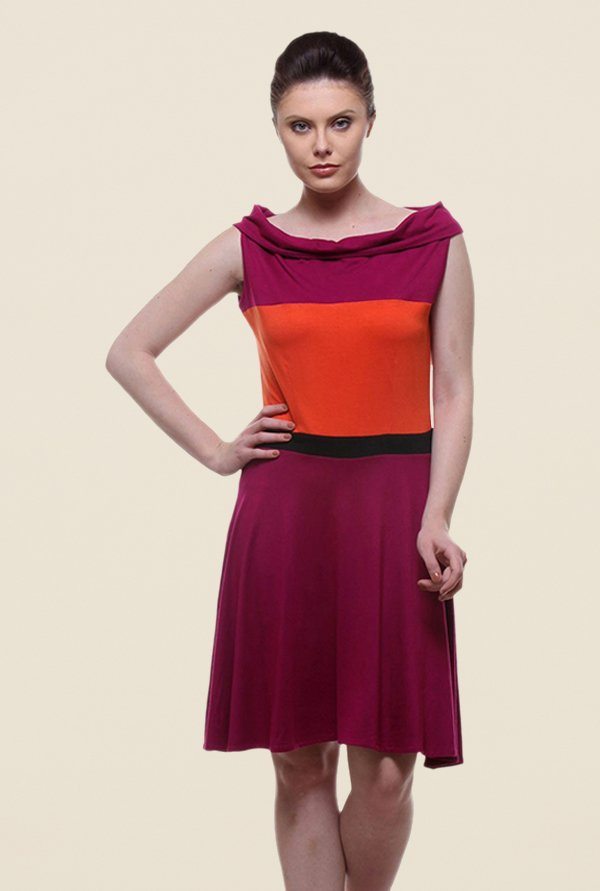 Kaaryah Magenta & Orange Solid Dress
