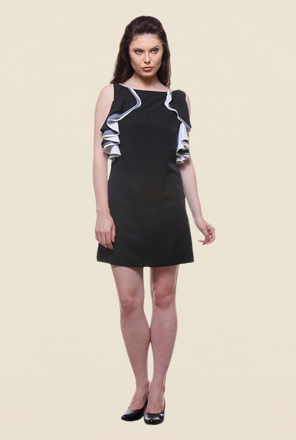 Kaaryah Black Solid Boat Neck Relaxed Fit Dress