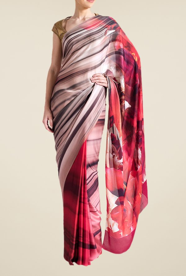 Satya Paul Pink Georgette Saree