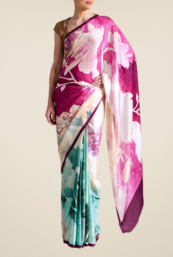 Satya Paul Pink & Green Georgette Saree