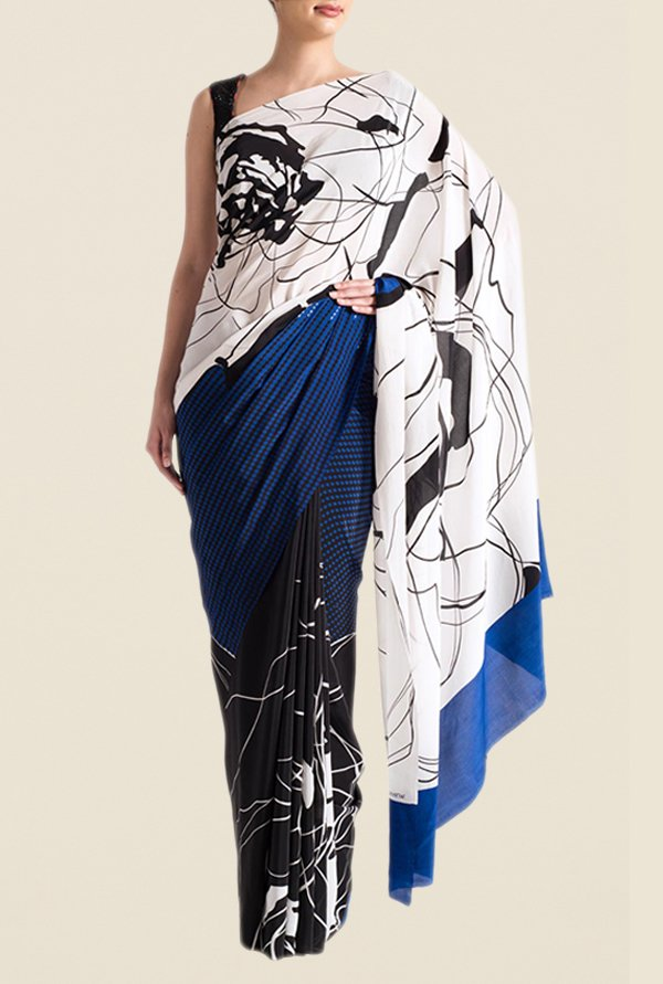 Satya Paul Blue & Black Super Georgette Saree