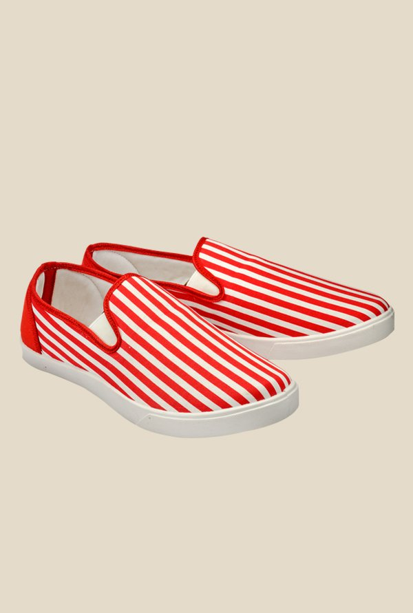 Juan David Red & White Plimsolls