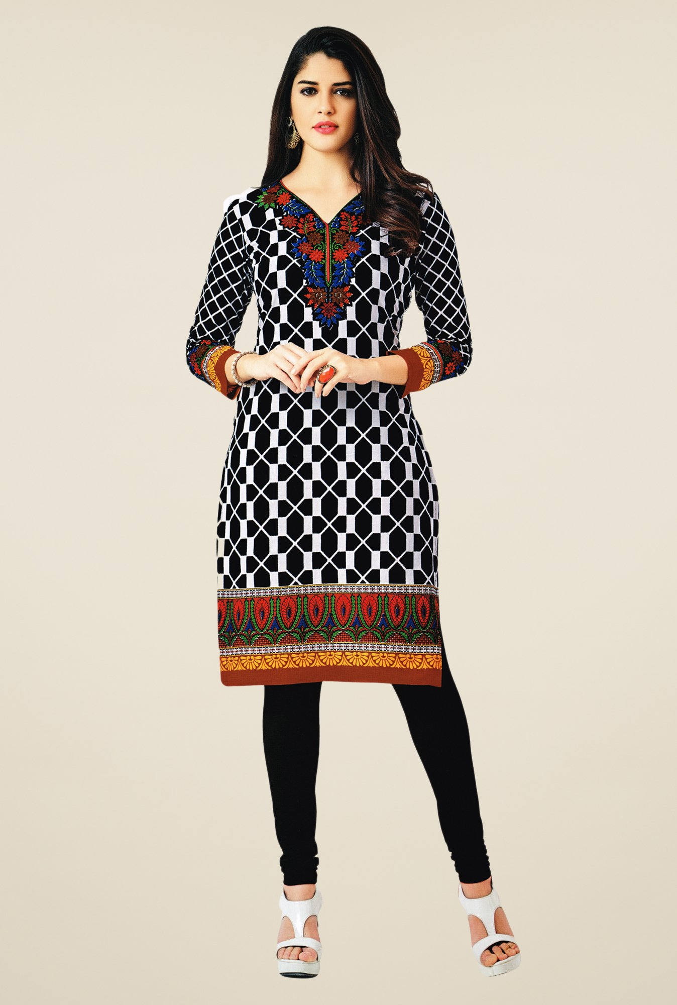 Salwar Studio Black & White Cotton Printed Unstitched Kurti
