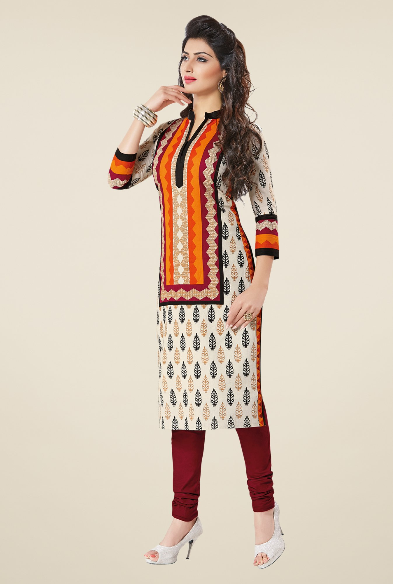 Salwar Studio Cream & Maroon Self Printed Unstitched Kurti