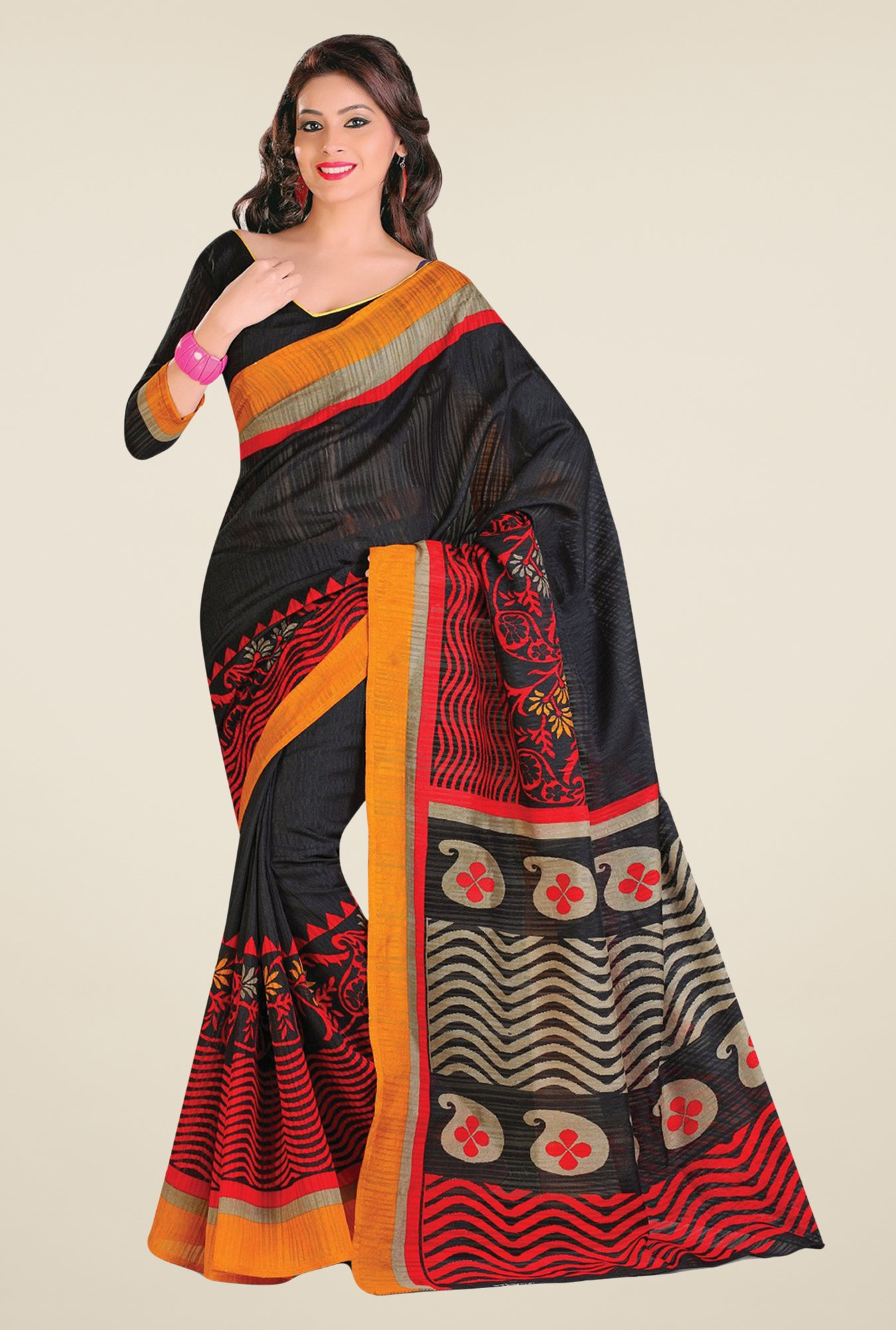 Salwar Studio Black & Red Cotton Blend Paisley Print Saree