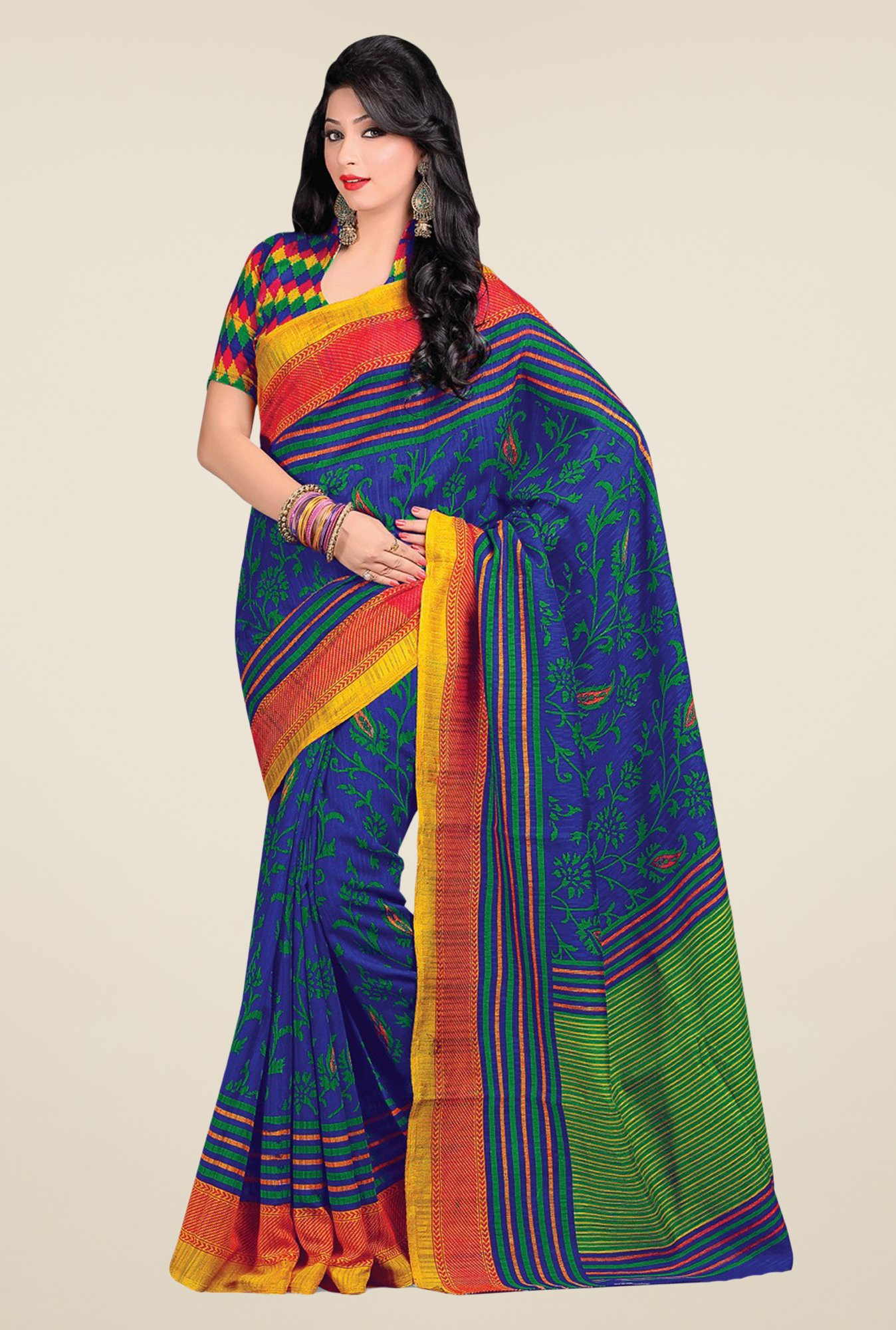 Salwar Studio Blue & Green Cotton Blend Floral Print Saree