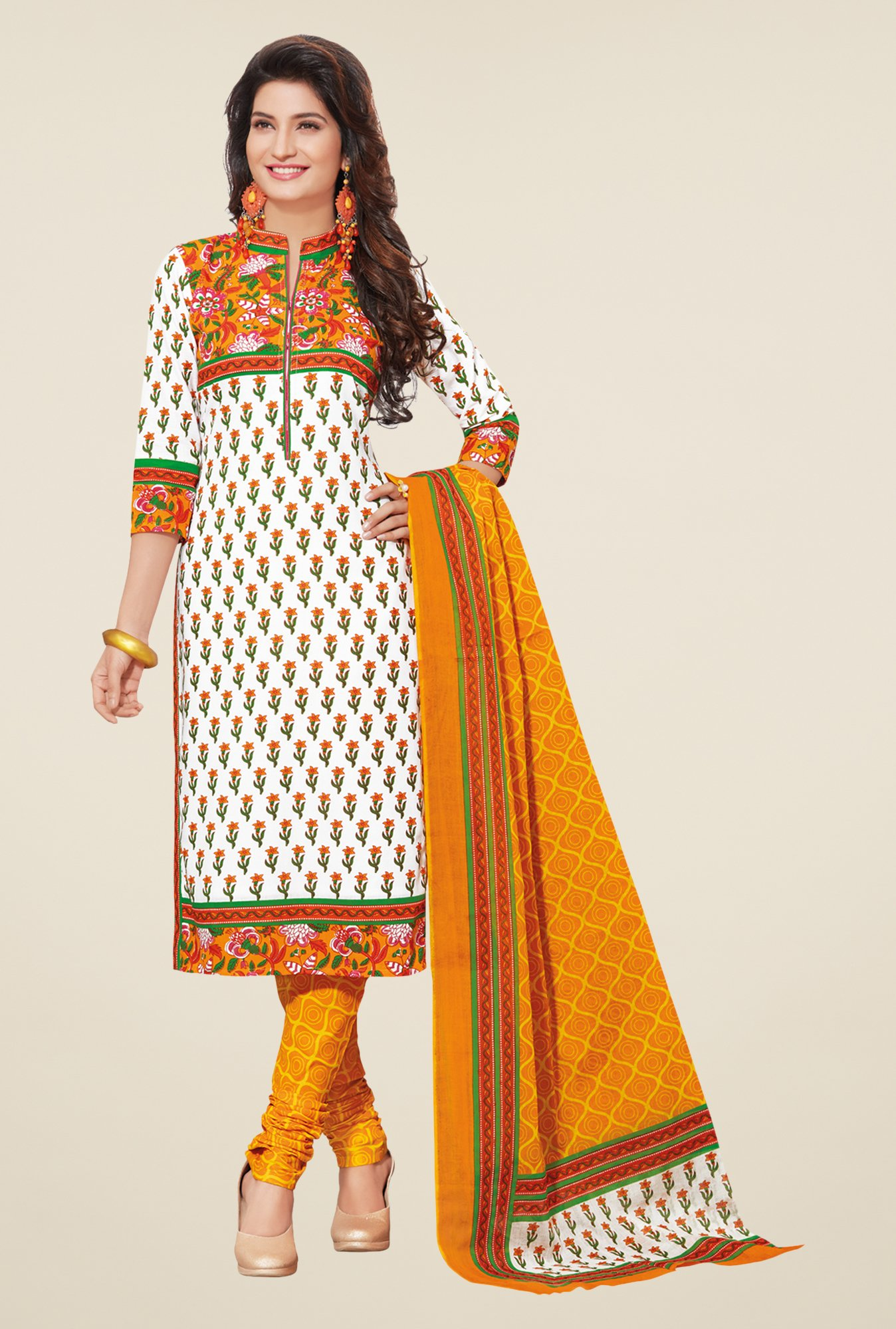 Salwar Studio Off White & Mustard Floral Dress Material