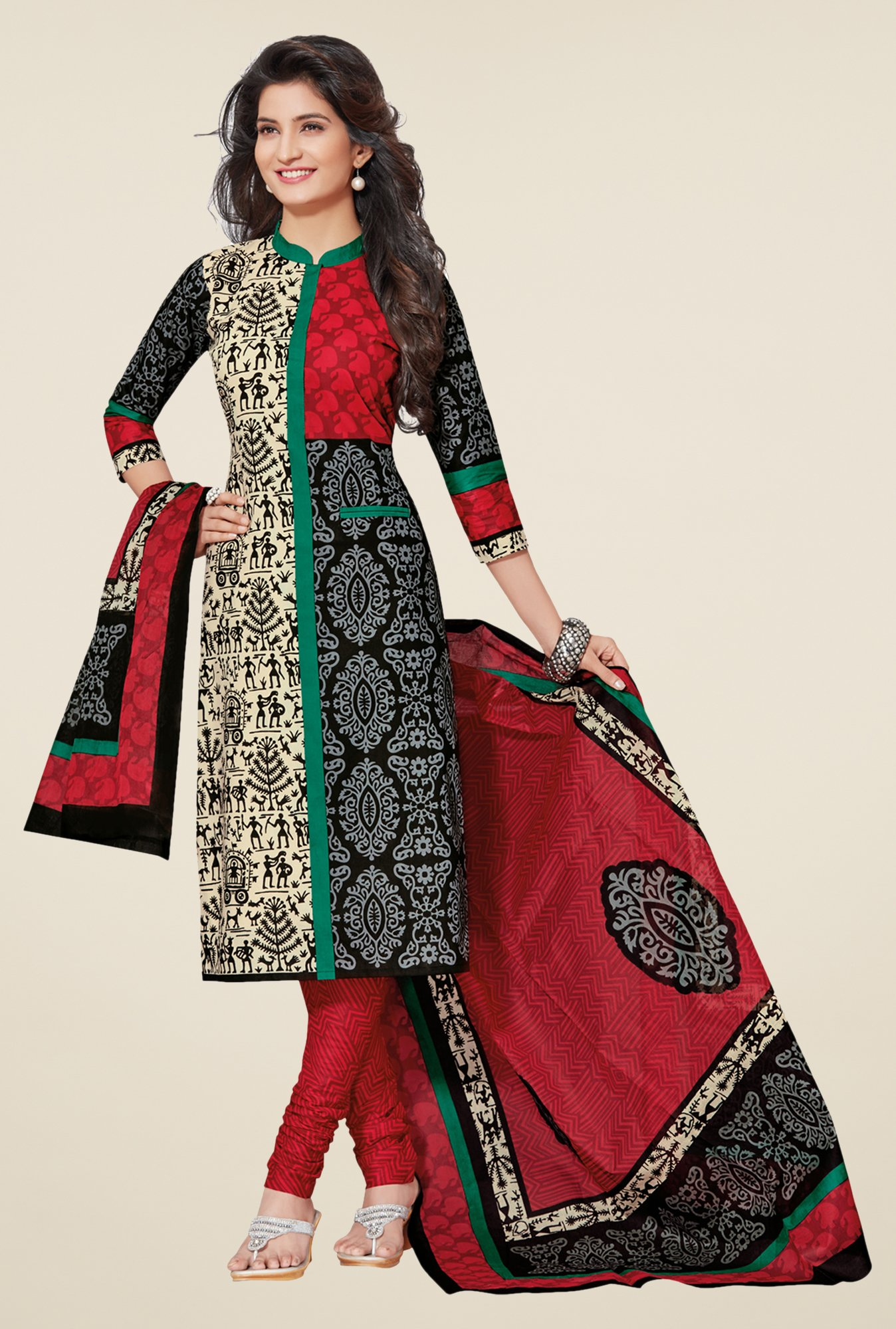 Salwar Studio Black & Red Cotton Floral Print Dress Material