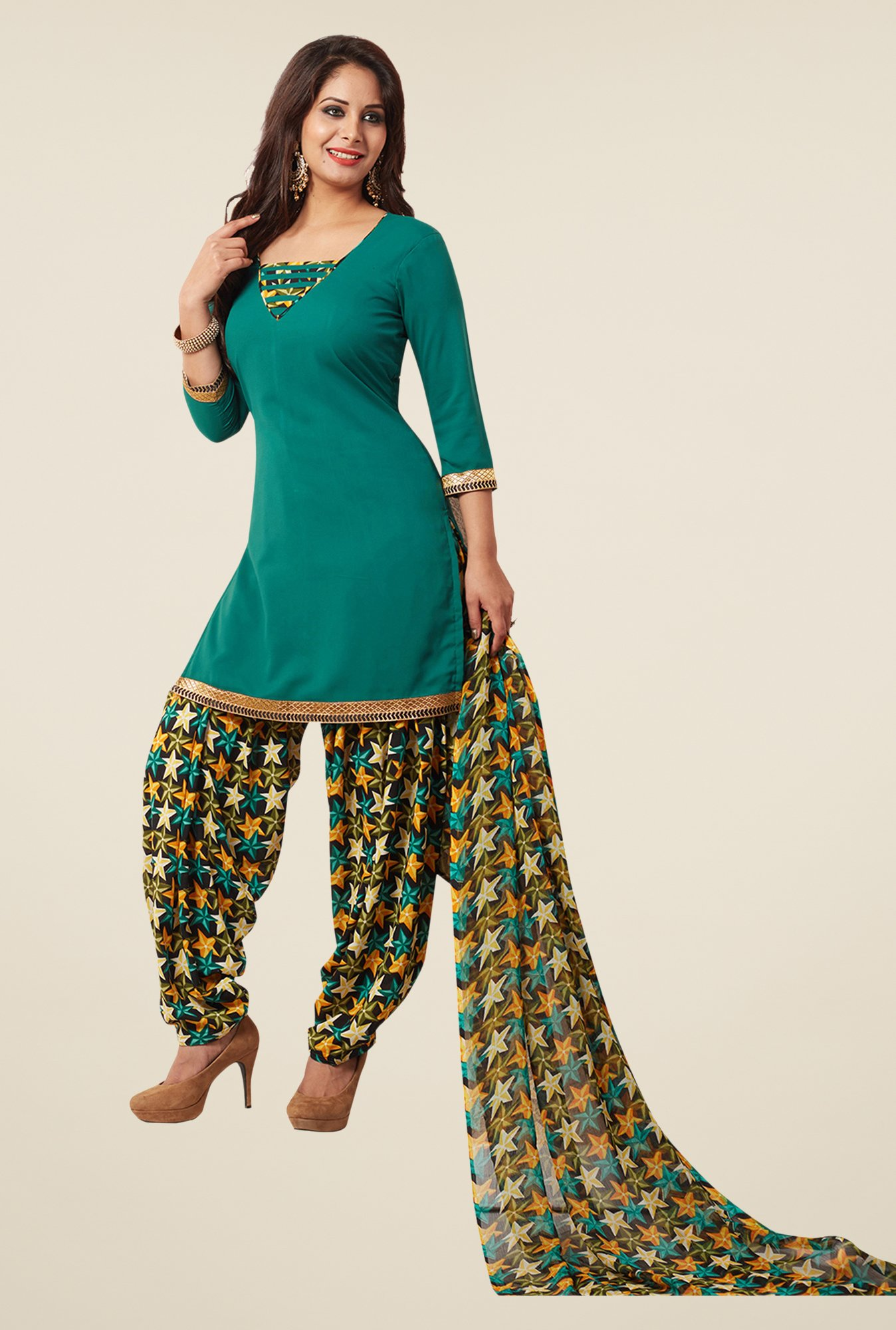 Salwar Studio Teal & Yellow Synthetic Solid Dress Material