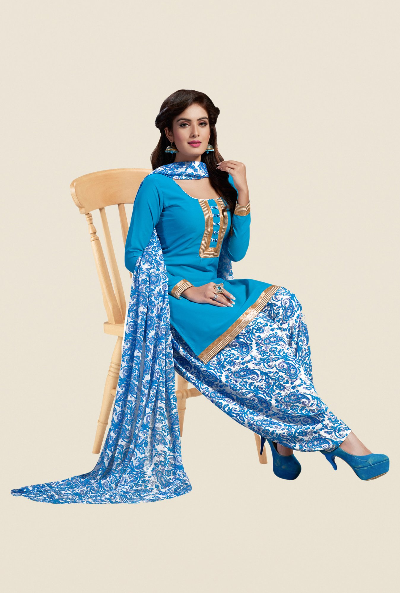 Salwar Studio Blue & White Synthetic Solid Dress Material