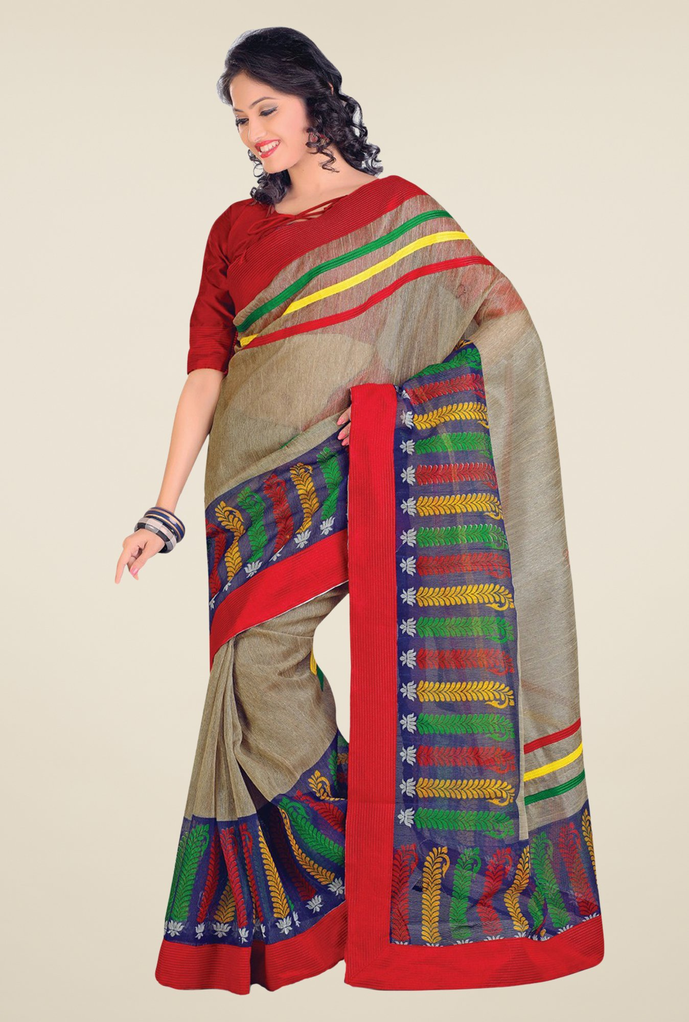Salwar Studio Grey & Red Cotton Blend Floral Print Saree