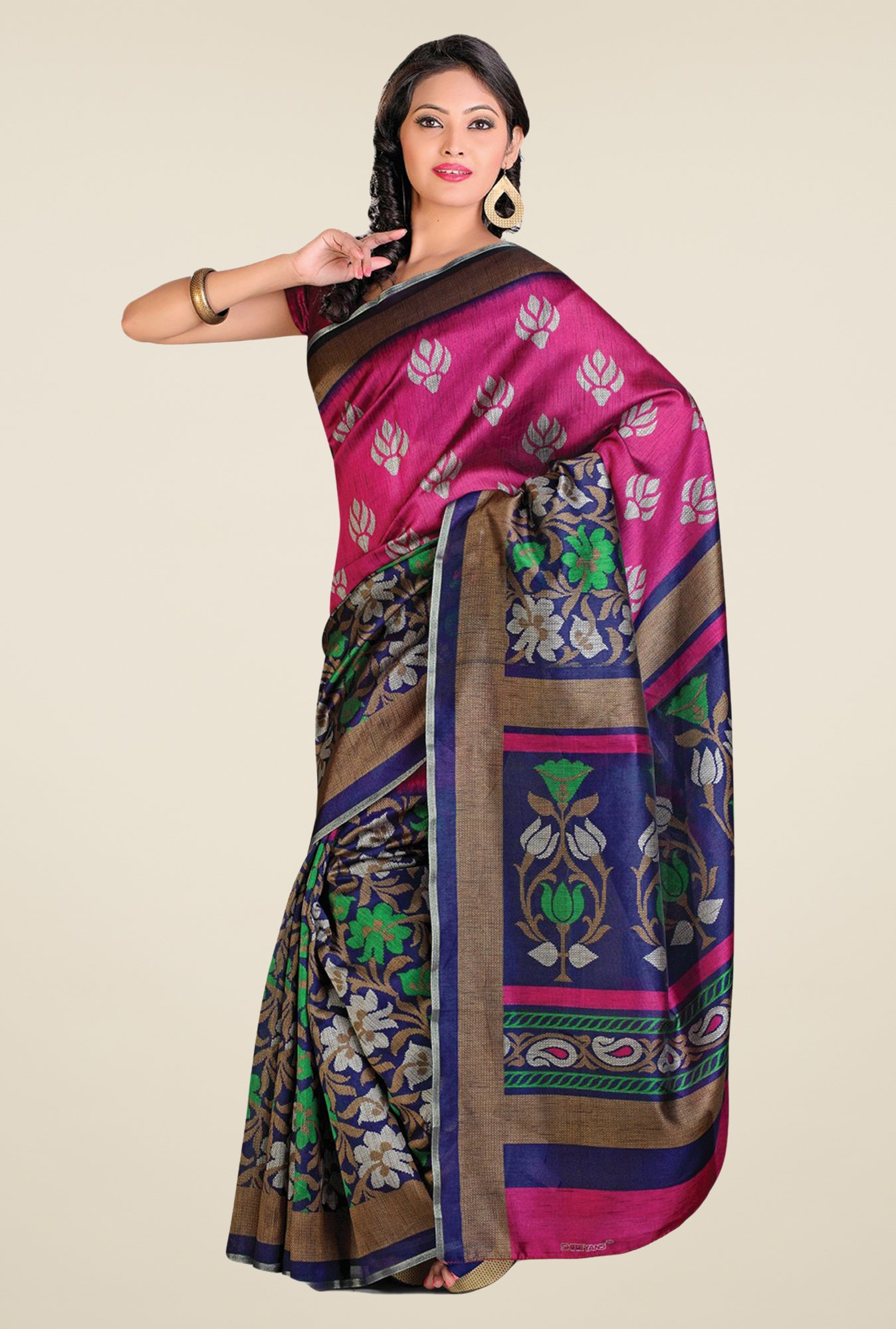 Salwar Studio Magenta & Blue Cotton Blend Floral Print Saree