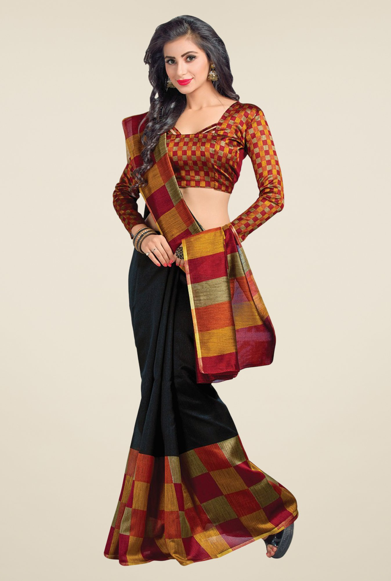 Salwar Studio Black Cotton Blend Checks Saree