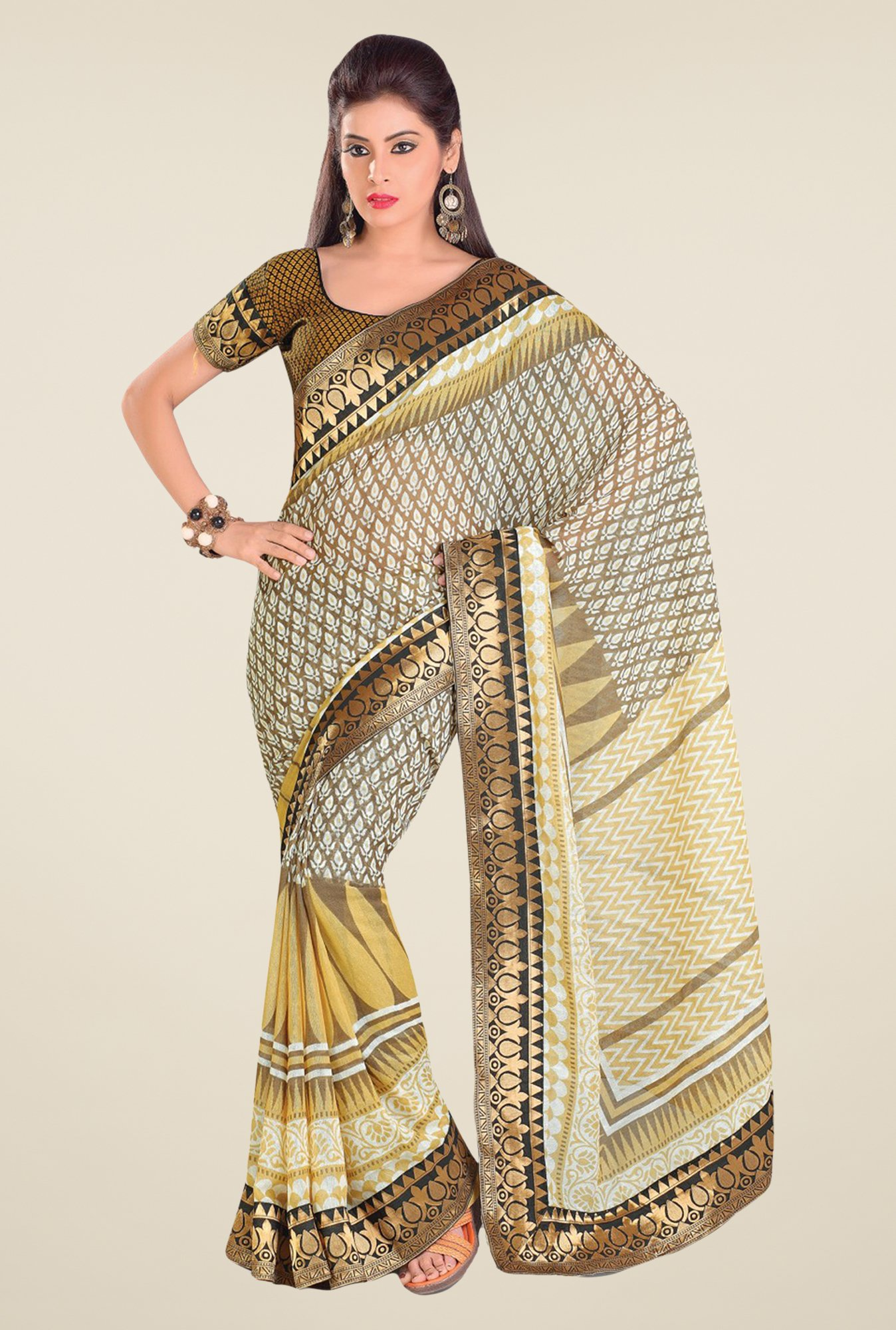 Salwar Studio Grey & Beige Cotton Blend Printed Saree