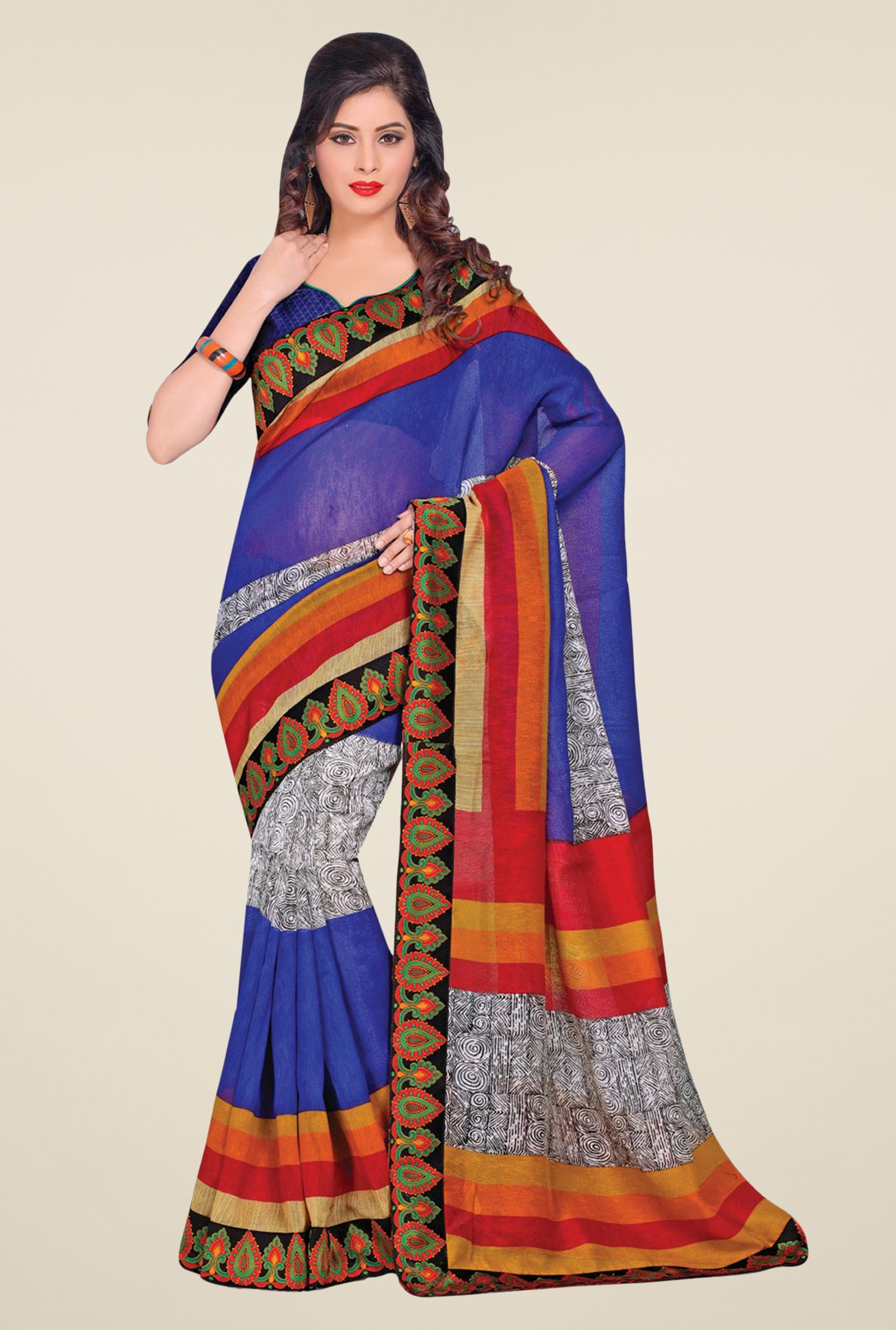 Salwar Studio Blue & Grey Cotton Blend Printed Saree