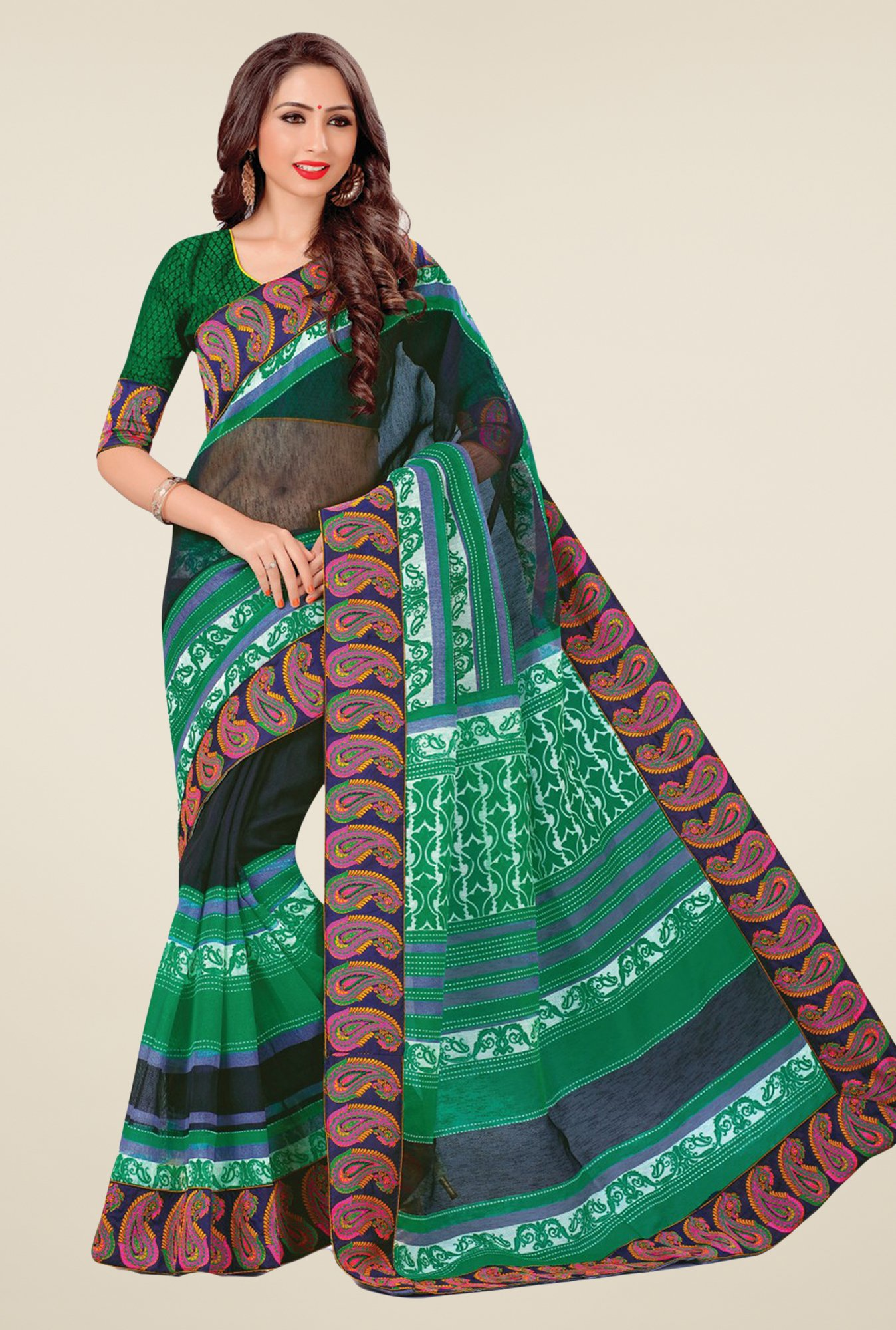 Salwar Studio Green Cotton Blend Paisley Print Saree