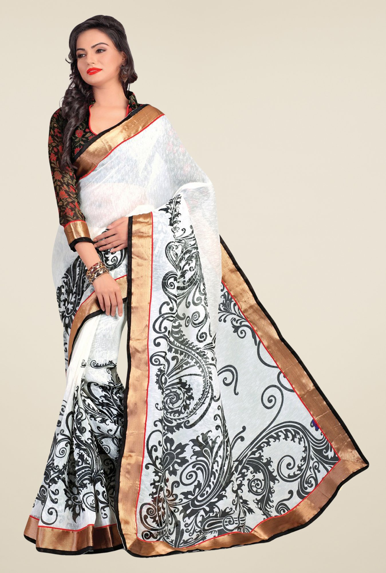 Salwar Studio White & Black Cotton Blend Printed Saree